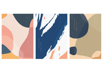 Abstract background with Japanese pattern vector. Geometric template with brush stroke elements.