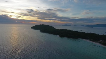 Wall Mural - Aerial panorama view on tropical Ko Lipe island in the Andaman Sea at sunset, Thailand, 4k