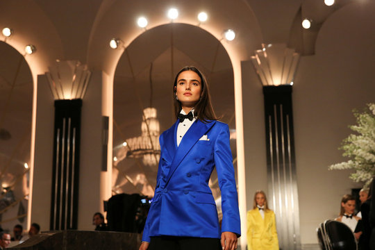 A model presents a creation from the Ralph Lauren collection during New York Fashion Week