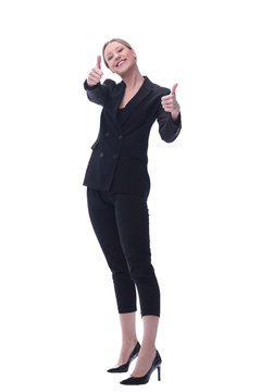 smiling businesswoman showing thumbs up. isolated on white