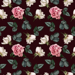 Floral seamless pattern with pink peonies and green leaves, white roses. Flowers isolated on dark background. Can be used for wallpaper design, packaging, textile, decorative print.