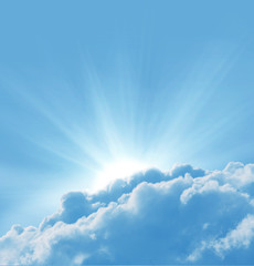 Fototapete - Blue sky with sun and beautiful clouds.Concept religion background