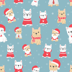 cute french bulldog puppy dog in christmas costume seamless pattern snow background