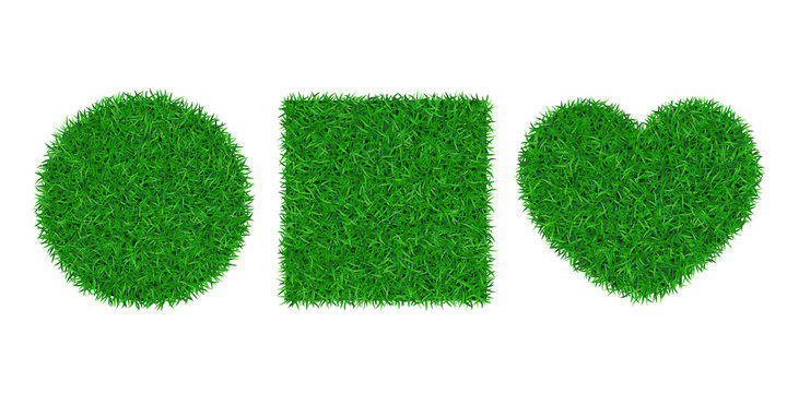 Green grass background 3D set. Lawn greenery nature circle ball, heart. Abstract soccer field texture square. Ground landscape grassland pattern. Grassy design. Beautiful meadow. Vector illustration
