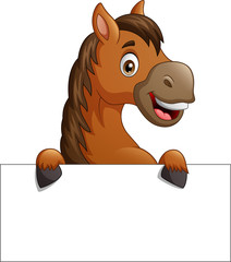 Cartoon brown horse with blank sign board. vector illustration