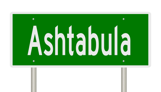Rendering of a green highway sign for Ashtabula Ohio