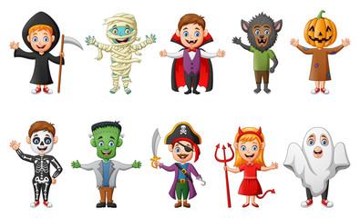 Set of cute halloween cartoon costumes children. vector illustration Wall mural