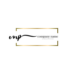 MP initial handwriting logo vector.