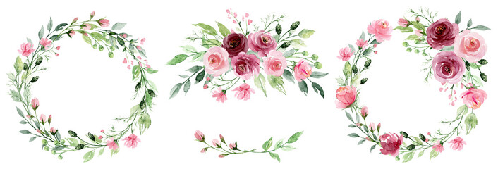 Obraz Watercolor flower wreaths. Floral clip art set. Frames perfectly for print on wedding invitation, greeting card, wall art, stickers and other. Isolated on white background. Hand paint design.  - fototapety do salonu