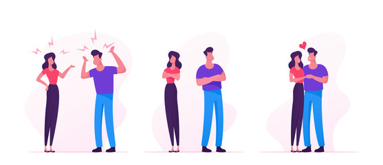 Quarrel, Swear and Reconciliation of Loving Couple. Man and Woman Sorting Things Out, Fighting. Family Life, Scandal between Husband and Wife. Love Human Relations. Cartoon Flat Vector Illustration
