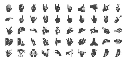 Hand gestures line icon set. Included icons as fingers interaction,  pinky swear,forefinger point, greeting, pinch, hand washing and more.