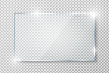 Transparent glass banner with reflection isolated on transparent background. Blank gloss glass plate. Realistic rectangle glass frame. Square 3d shiny display mockup. Window design. Vector