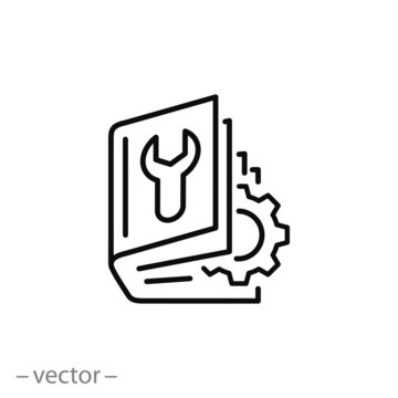 user manual, booklet icon, instruction book, project technical document, thin line web symbol on white background - editable stroke vector illustration eps10
