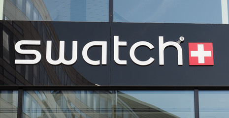 DUeSSELDORF - AUG 2019: Swatch sign