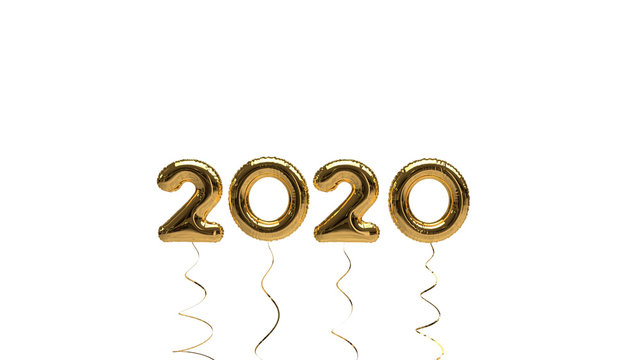 Simple New Year 2020 Text Illustration (Rendering) with gold Foil Helium Balloons, isolated on a white Background