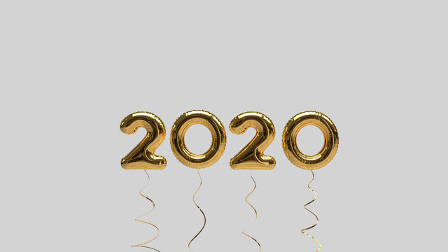 Simple New Year 2020 Text Illustration (Rendering) with gold Foil Helium Balloons, isolated on a gray Background