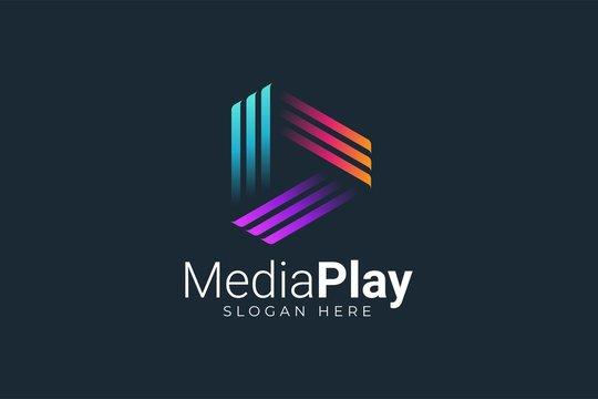 Play Media Button Symbol Logo Icon Vector