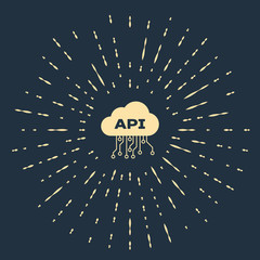 Beige Cloud api interface icon isolated on dark blue background. Application programming interface API technology. Software integration. Abstract circle random dots. Vector Illustration
