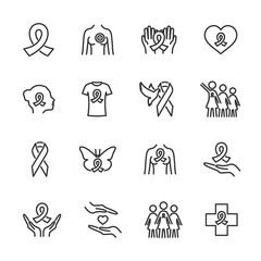 Vector set of breast cancer line icons.