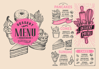 Dessert menu food template for restaurant with doodle hand-drawn graphic.