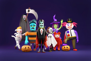 A collection of halloween fancy dress monster characters. 3D illustration.