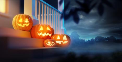 A group of pumpkin Jack O Lanterns decorating a porch on Halloween. 3D illustration.