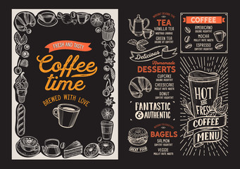 Coffee drink menu template for restaurant with doodle hand-drawn graphic.
