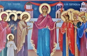 Maria inmitten der Heiligen, Meteora-Kloster, Griechenland