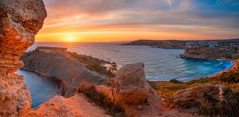 Fototapete - Malta landscape at sunset