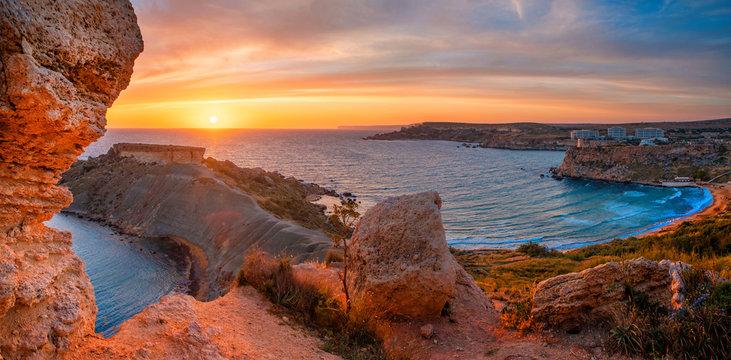 Malta landscape at sunset