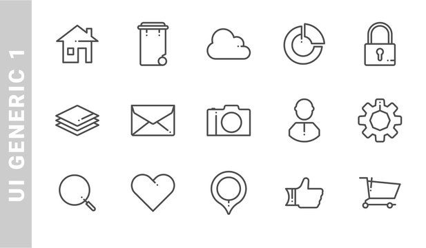 ui generic 1 icon set. Outline Style. each made in 64x64 pixel