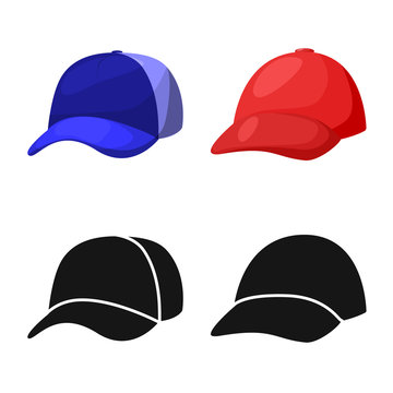 Vector illustration of clothing and cap icon. Set of clothing and beret stock vector illustration.