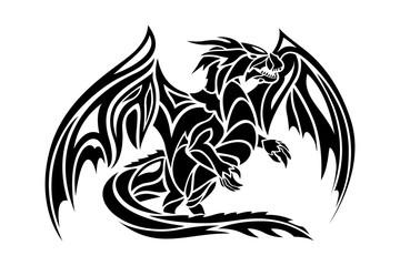 Fantasy tattoo art with stylized black dragon