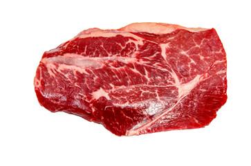 Keuken foto achterwand Steakhouse Top blade steak marbled beef on white background