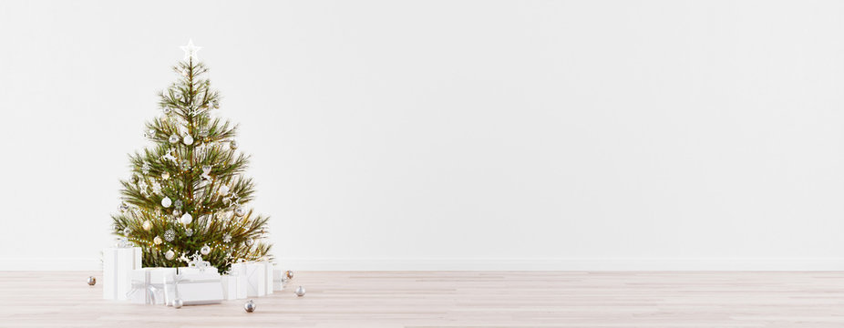 Empty Christmas Room with fir tree, presents and white wall copy space 3d Render 3d Illustration