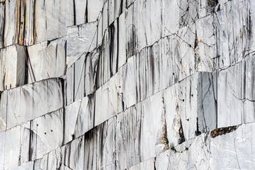 Marble quarry in Carrara, Italy, where Michelangelo got the material for his sculptures. This is the stone wall from which large marble slabs are cut Wall mural