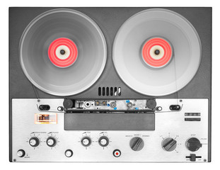 vintage reel to reel tape recorder isolated on white background