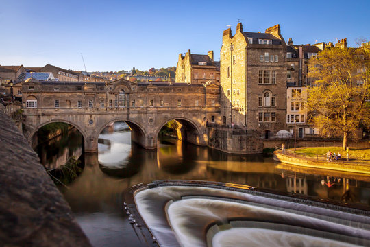 Bath, UK - Pulteney Bridge and the River Avon at Sunset Hour