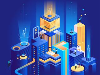 Smart business platform isometric illustration