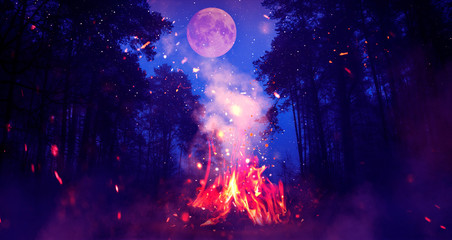 Poster de jardin Texture de bois de chauffage Night forest, landscape. Bonfire in the forest, big moon. Moonlight neon