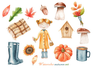 watercolor set of illustrations about autumn with a girl in a raincoat