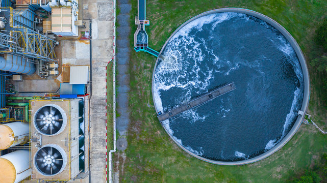 Aerial view water treatment tank with waste water.