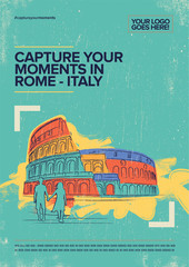 In de dag Pop Art Coliseum, Rome. Italy travel poster. Retro style hand drawn vector illustration.