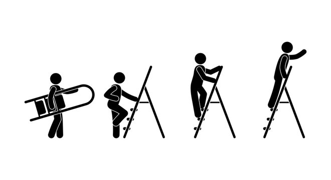 man with a ladder icon, stick figure pictogram human silhouette, character set isolated