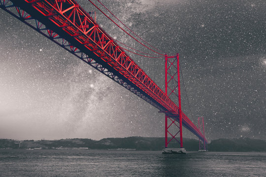 Galaxy over the Red Bridge on a monochromatic background. Vintage style colored picture. Travel concept. Elements of this image furnished by NASA.