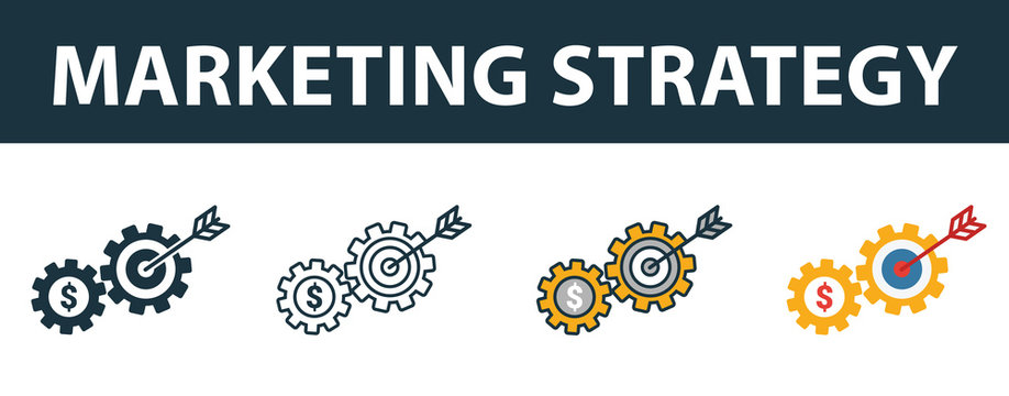 Marketing Strategy icon set. Four elements in diferent styles from online marketing icons collection. Creative marketing strategy icons filled, outline, colored and flat symbols