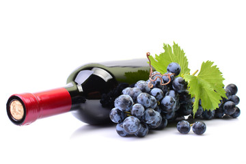 A bottle of wine on a white background Fototapete