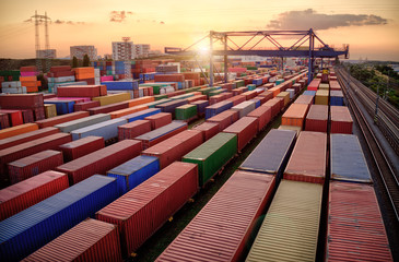 Container vagoons in export and import business and logistics. Aerial view Wall mural