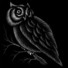 The Vector logo owl for tattoo or T-shirt design or outwear.  Hunting style owl background. This drawing would be nice to make on the black fabric or canvas.