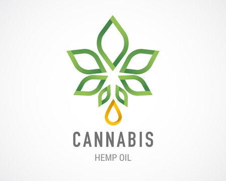 Cannabis leaf, medical marijuana, CBD oil, symbol and logo. Vector design